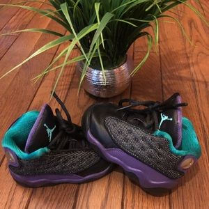 Jordan black, teal, & purple air Jordan's